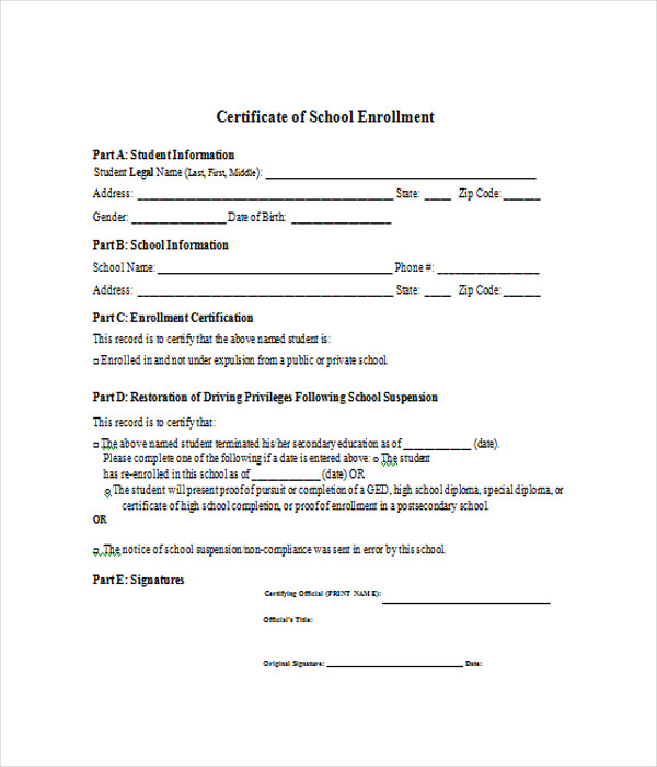 Certificate Of Enrollment Template