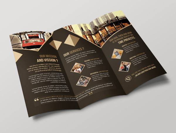 Construction Tri-Fold Brochure Template