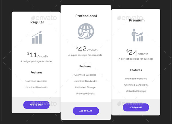 Creative Pricing Tables with Different Styles