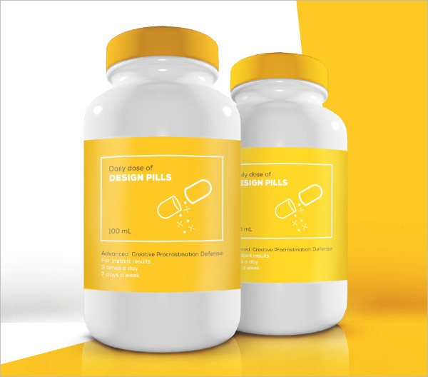 Free Pills 3D Bottle Mock-Up