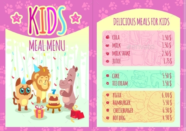 Kids Meal Menu with Animal Characters