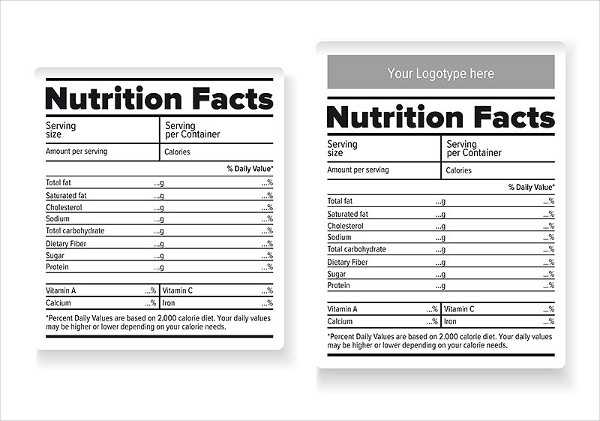 Clean Nutrition Facts Label Templates