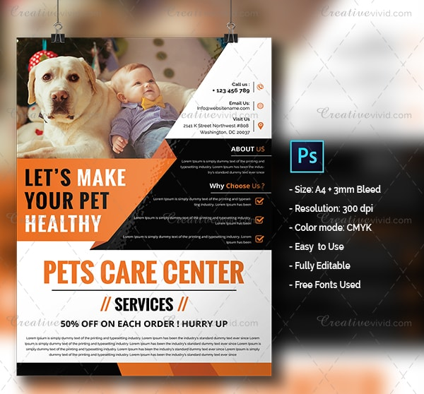 Pets Day Care Center Flyer Template