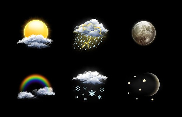 Realistic Weather Icon Set