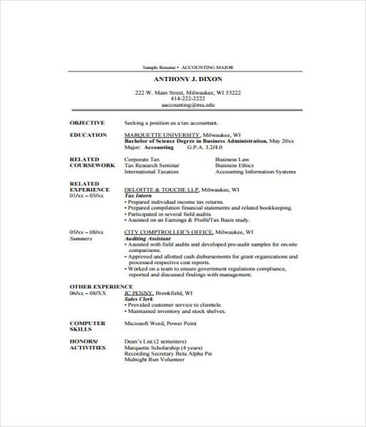 7 accountant resume templates  free word pdf document