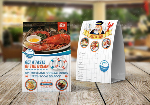 Seafood Restaurant Table Tent Sign Template