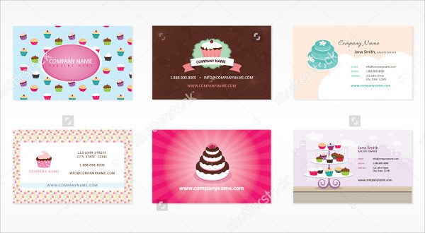 Set of Bakery Business Card Examples