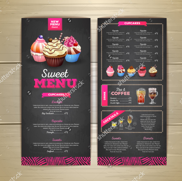 Vintage Chalk Drawing Menu Template
