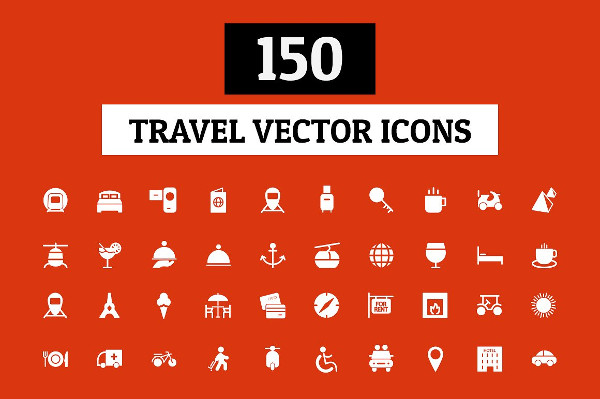 150 Travel Vector Icon Set