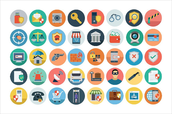 75+ Flat Security Icon Set