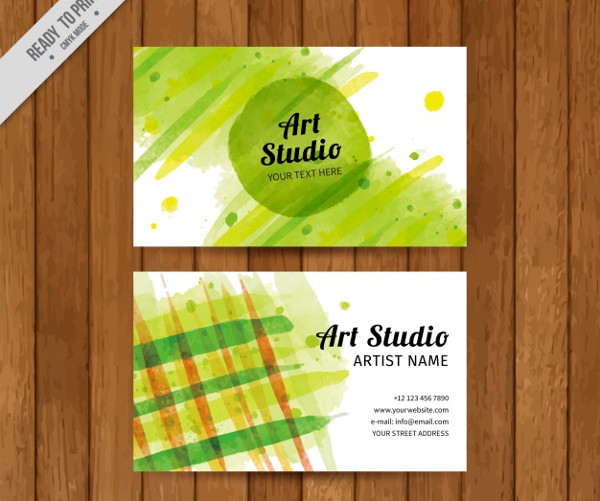Free Artistic Watercolor Business Card Template
