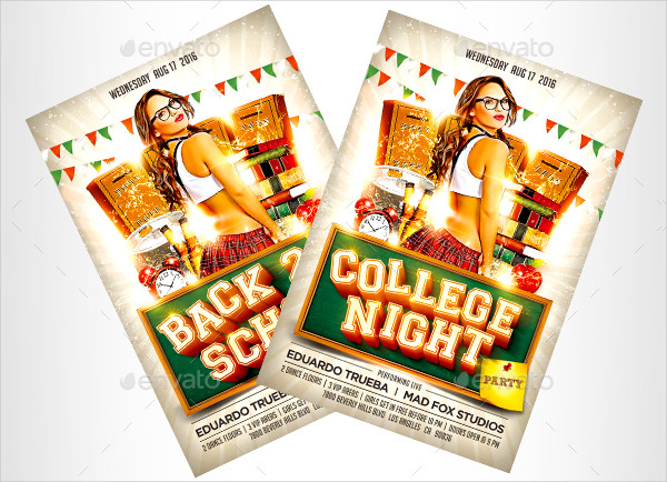 Back 2 School & College Night Party Flyer Templates