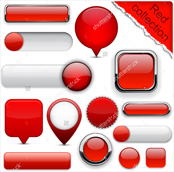 Blank Red Web Buttons Collection