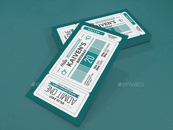 Colorful Birthday Party Ticket Invitation