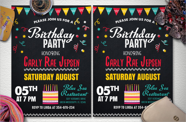 Chalk Style Kids Birthday Party Flyer Template
