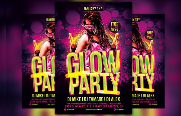 Glow Party Flyer Designs