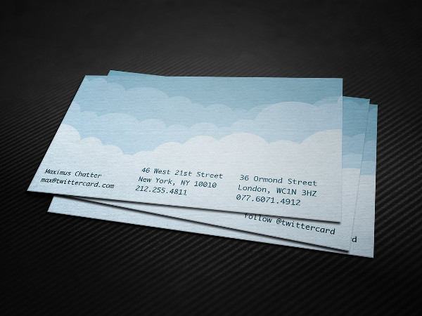 Twitter Cloud Business Card Template
