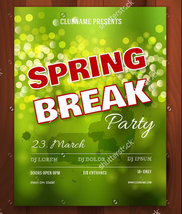 College Spring Break Party Flyer Design