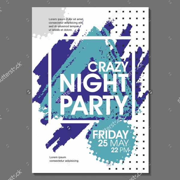 Crazy Night Party Vector Flyer Template