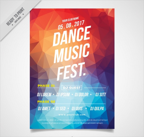 Dance Music Fest Flyer Template Free Download