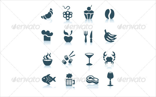 Gray Food Icons with Shadows