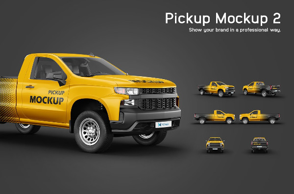 Easy to Edit Pickup Mock-Up PSD