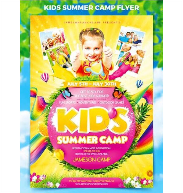 Editable Kids Summer Camp Flyer Free