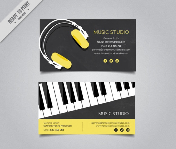 Elegant Music Business Card Template Free Download
