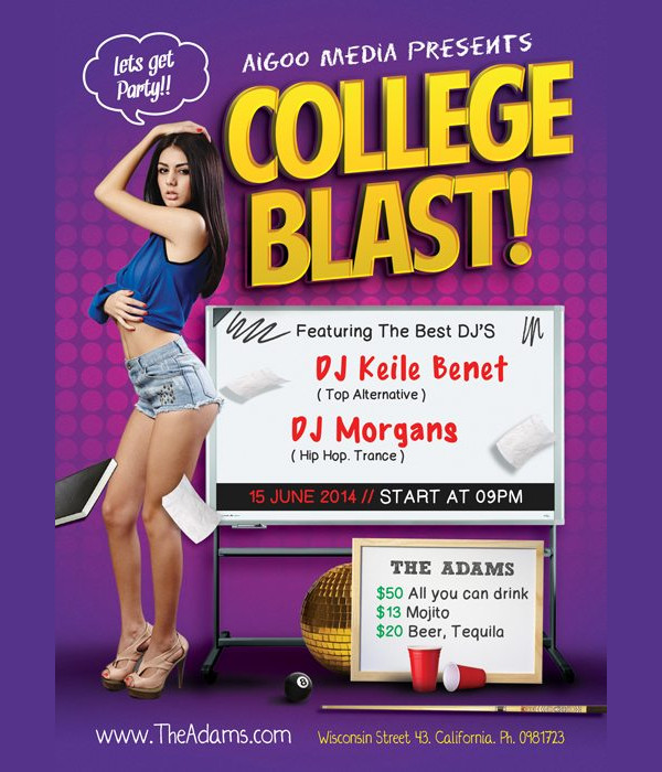 Free PSD College Blast Flyer Template
