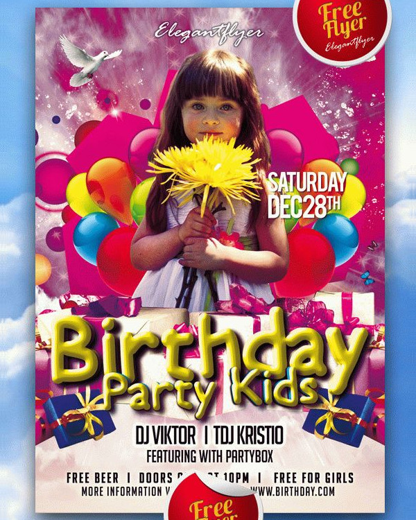 Free PSD Kids Party and Club Flyer PSD