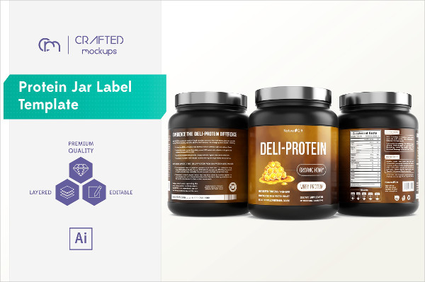 Fully Editable Protein Jar Label Template