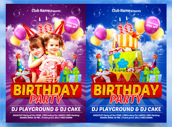 Funny Kids Birthday Party Flyer Templates