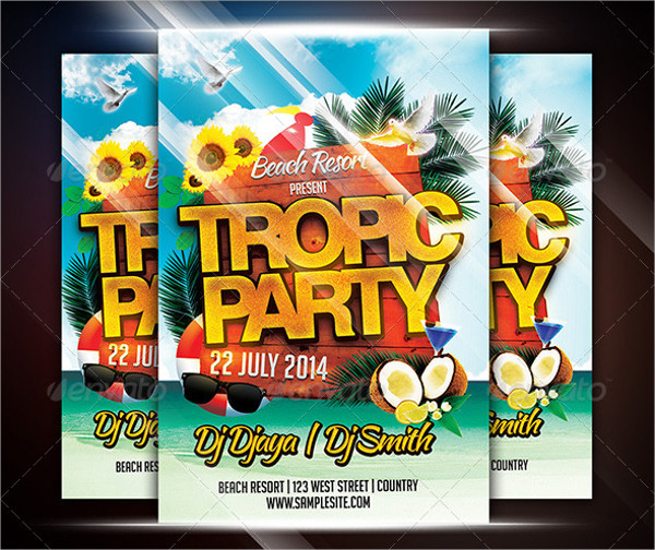 Holiday Tropical Party Flyer