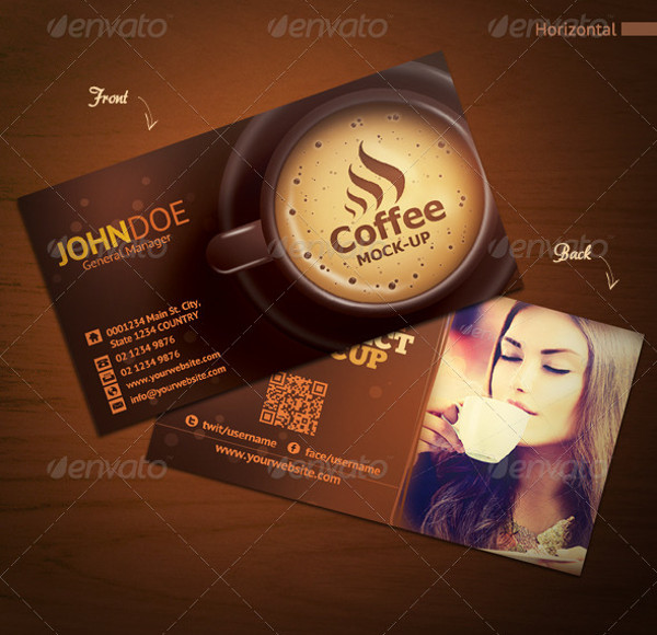 Horizontal & Vertical Coffee Shop Business Card