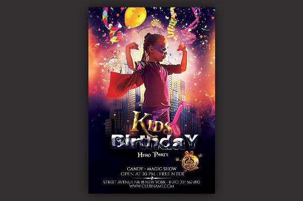 Kids Hero Party Flyer