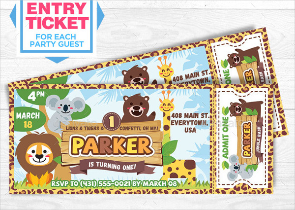 Kids Safari Invitation Ticket Template