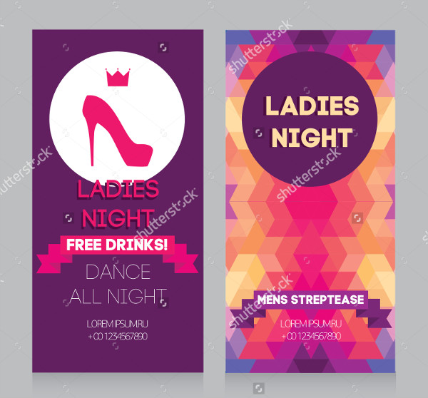 Ladies Night Party Flyer Vector Template