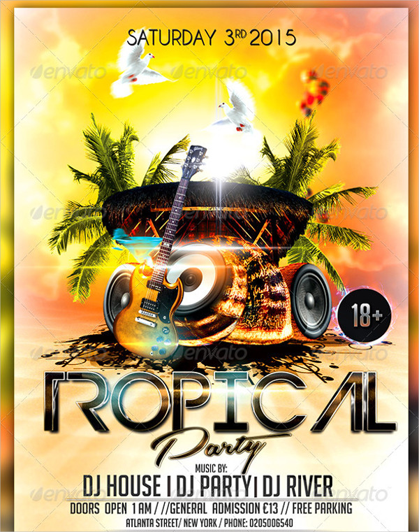Modern Tropical Party Flyer Template
