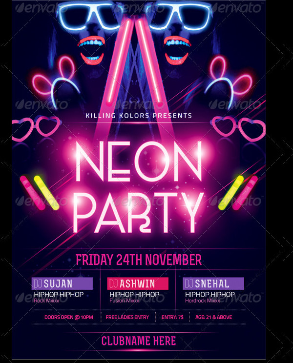 Colorful Glow Party Flyer Design