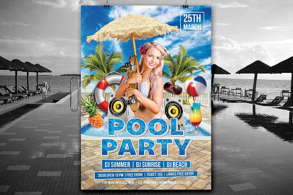 Pool Party BBQ Flyer