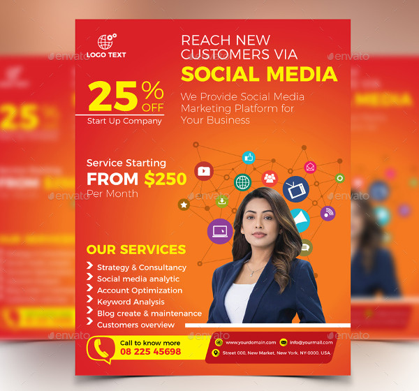 Professional Social Media Marketing Flyer PSD