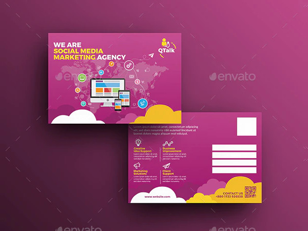 Social Media Marketing Postcard Template