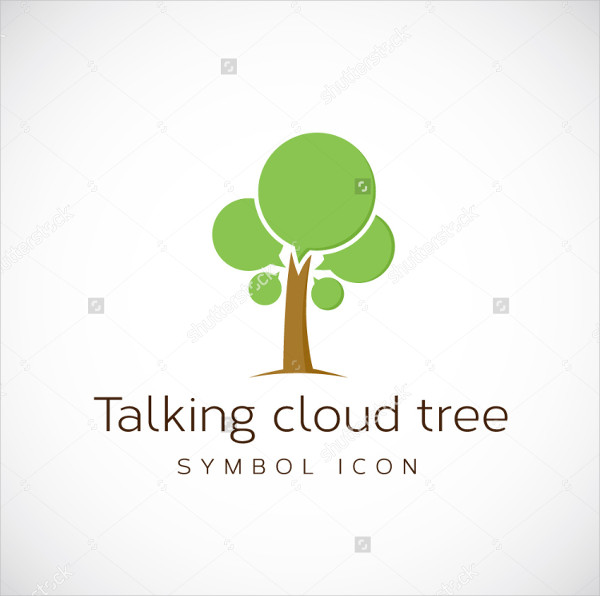 Talking Cloud Tree Logo Template