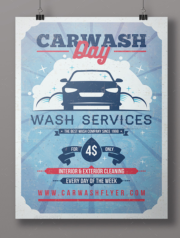 Vintage Washing Day Flyer PSD