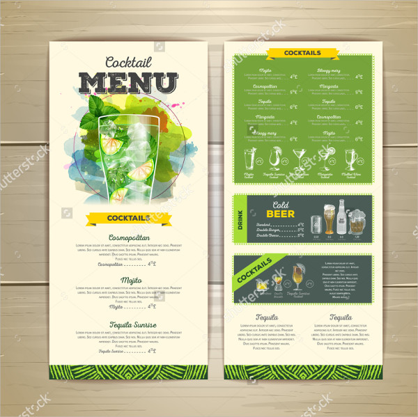 Cocktail Menu Design with Corporate Identity