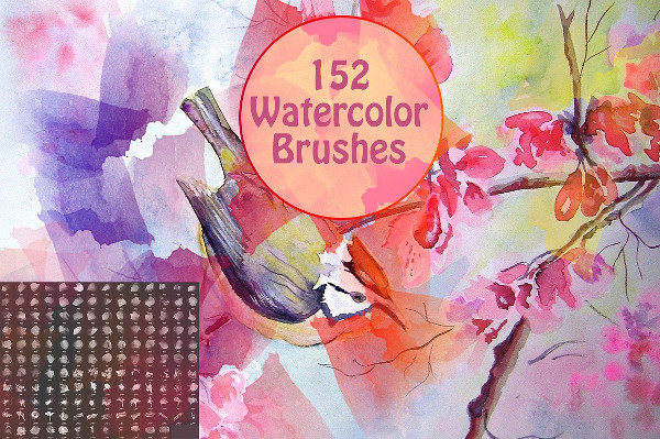 152 Grunge Watercolor Brushes