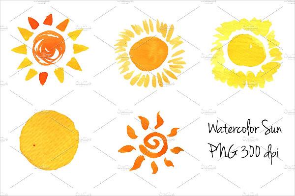 Watercolor Sun Icons Set