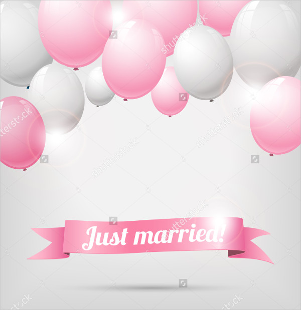 Wedding Banner with Balloons Vector