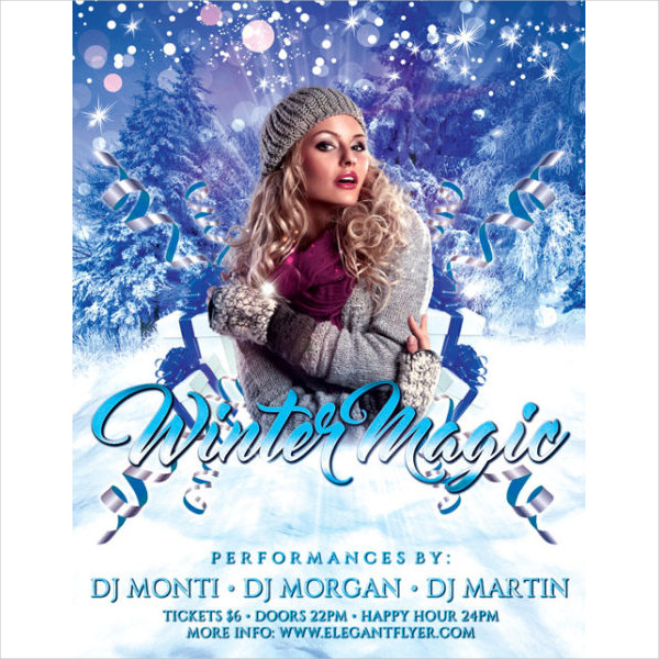 Winter Magic Party Free Flyer Template