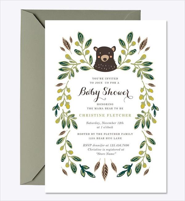 Bear Cub Baby Shower Invitation Template